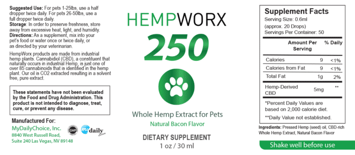 Pet Oil Label HempWorx 250mg
