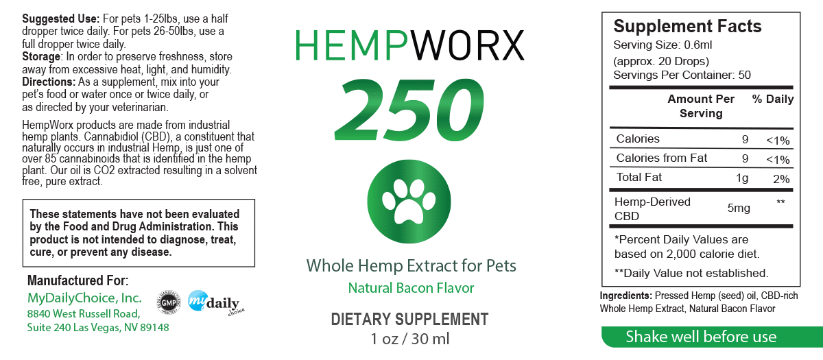 Pet Oil Label HempWorx 250mg