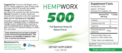 HempWorx 500mg CBD Oil