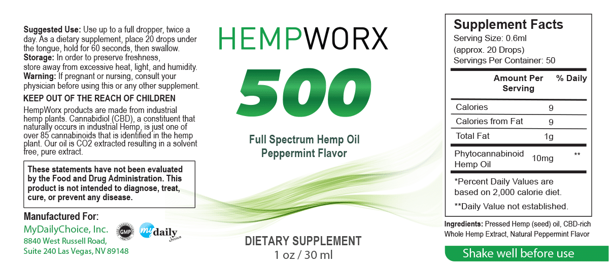 HempWorx 500mg Suggested Serving