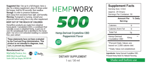 HempWorx THC Free 500mg CBD Oil Isolate