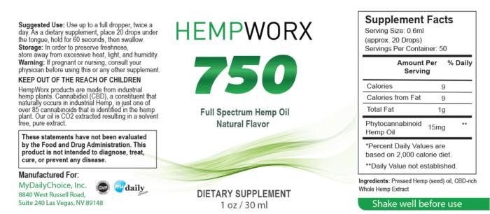 HempWorx 750mg Natural