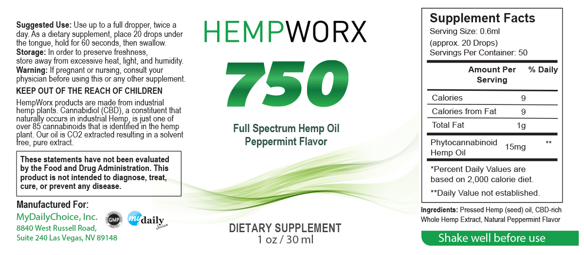 HempWorx 750mg Peppermint