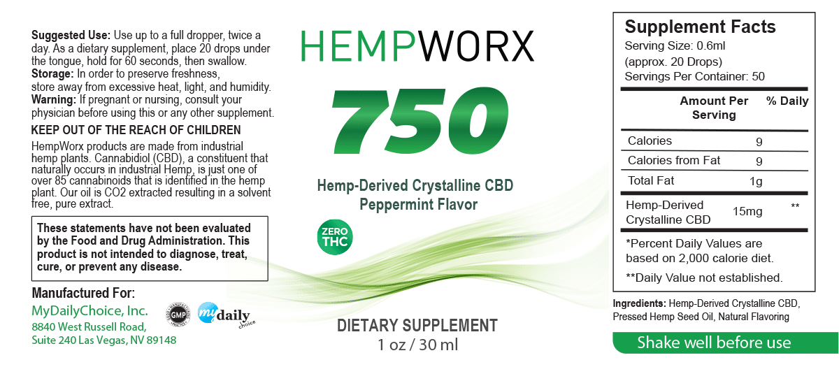 750 THC Free CBD Oil HempWorx Isolate
