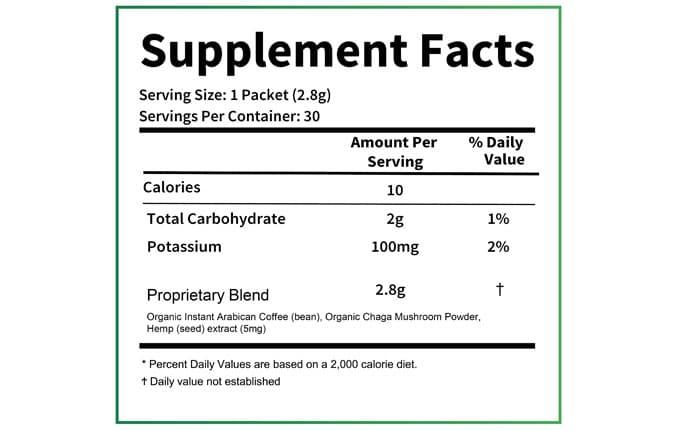 HempWorx Coffee Nutrition Label