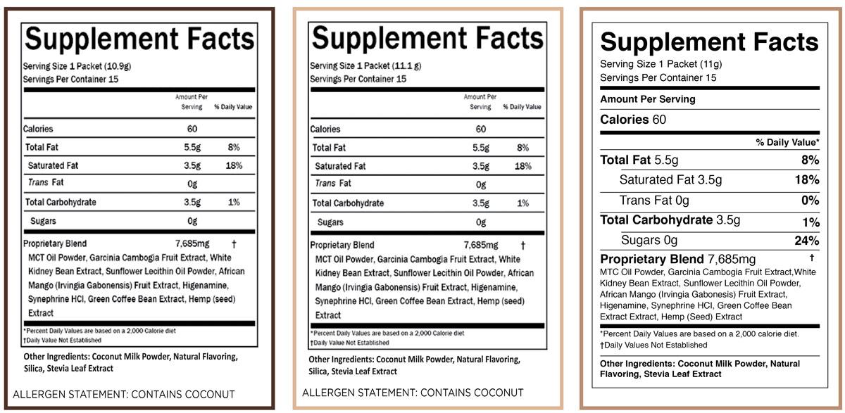 HempWorx Keto Creamer Nutrition Labels