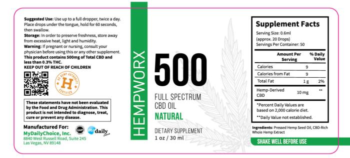 500mg HempWorx Full Spectrum Label Ingredients Natural