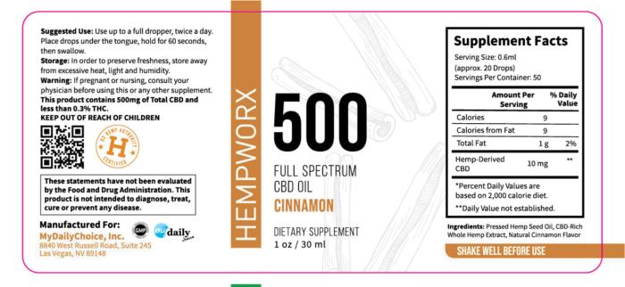 500mg HempWorx Full Spectrum Label Ingredients Cinnamon