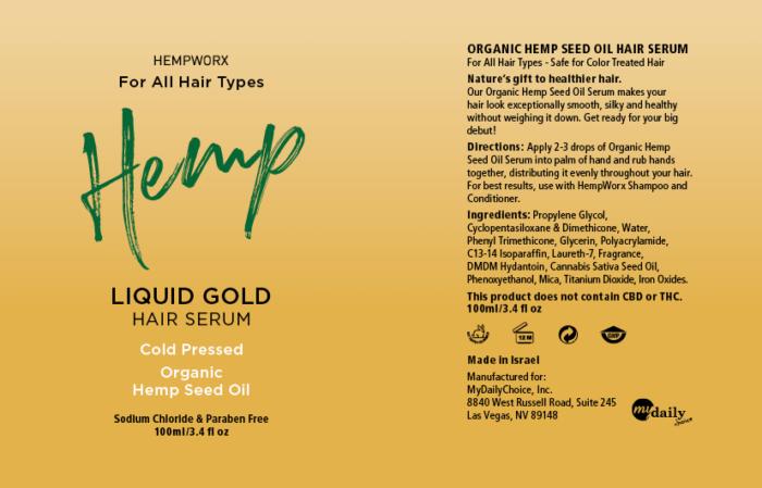 HempWorx Hair Serum Label