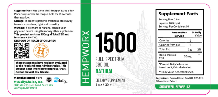 1500mg HempWorx Full Spectrum Label Ingredients Natural