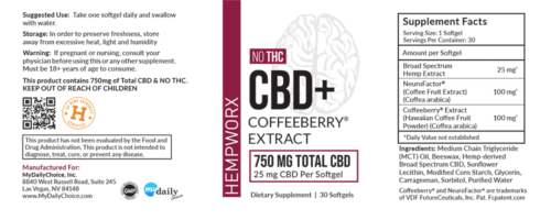 HempWorx CBD Coffeeberry label, ingredients