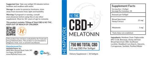 HempWorx CBD Melatonin Softgel Label, Ingredients, How to Use Melatonin