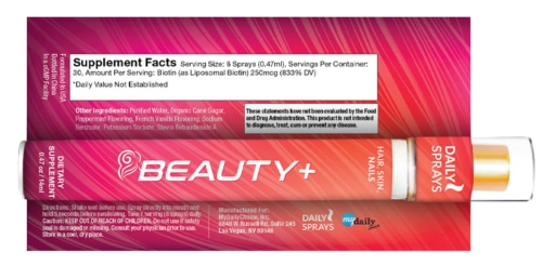 Beauty + Daily Spray Ingredient Label