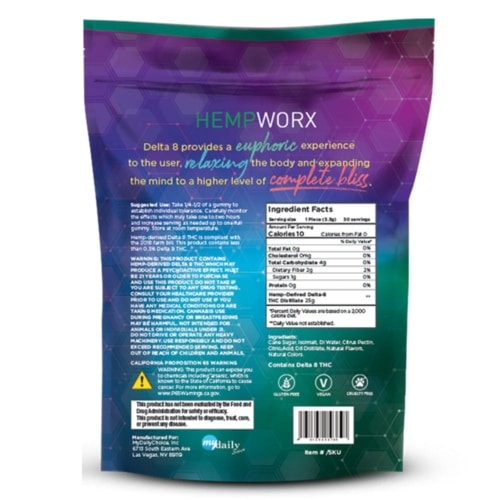 HempWorx, Delta 8, Gummies, Label, Ingredients